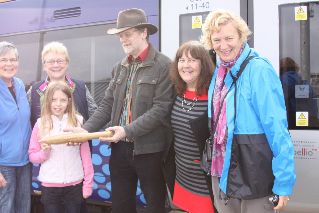 Eco-baton arrives at Tweedbank station en route to Selkirk