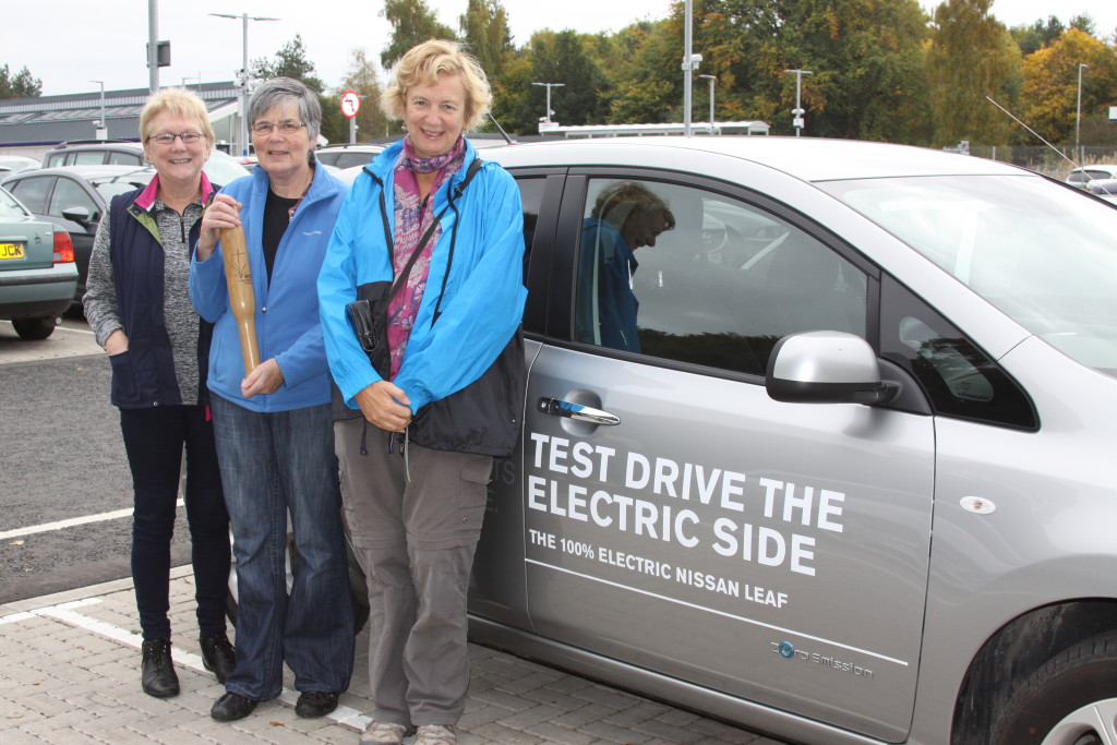 Eco-baton transferred to electric car at Tweedbank station en route to Selkirk