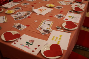 nicely decorated table for St. Valentine's Day FairTrade Brunch