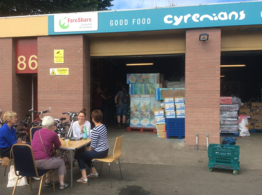 At the Cyrenians Fareshare depot in Edinburgh